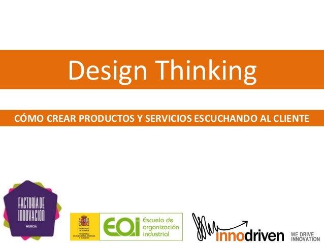 Design Thinking CÓMO CREAR PRODUCTOS Y SERVICIOS ESCUCHANDO AL CLIENTE