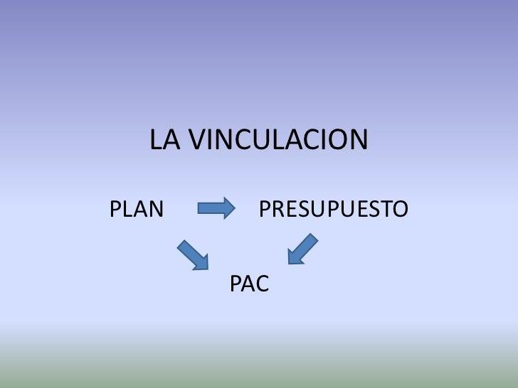 LA VINCULACIONPLAN     PRESUPUESTO       PAC