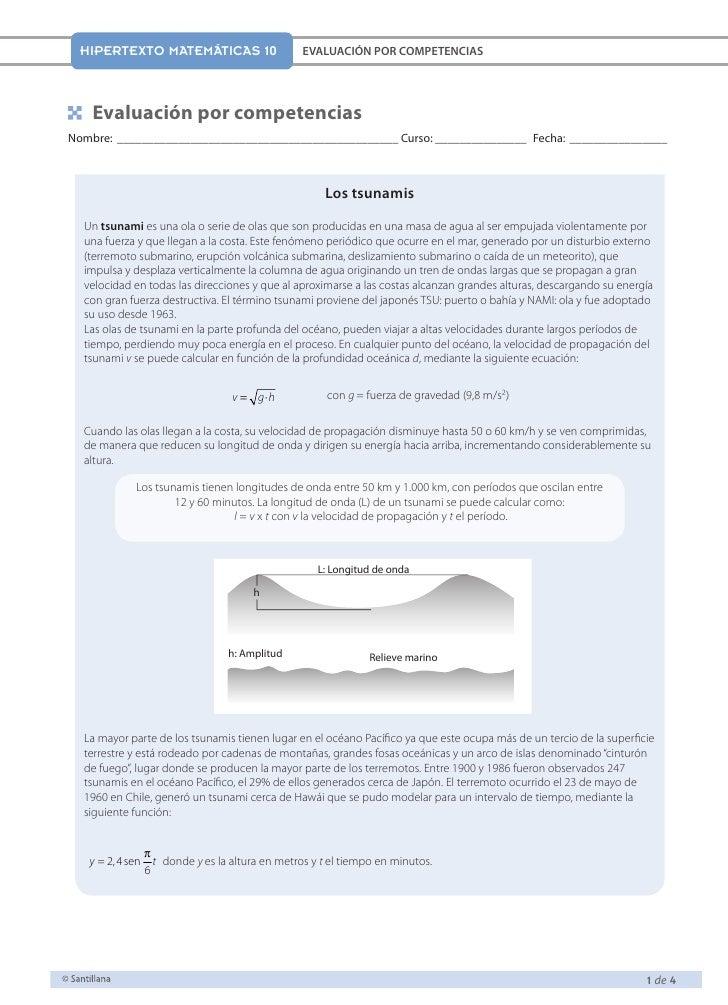 HIPERTEXTO MATEMÁTICAS 10                    EVALUACIÓN POR COMPETENCIAS    Evaluación por competenciasNombre:_ __________...