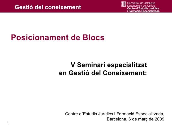 Posicionament de Blocs                     V Seminari especialitzat                en Gestió del Coneixement:             ...