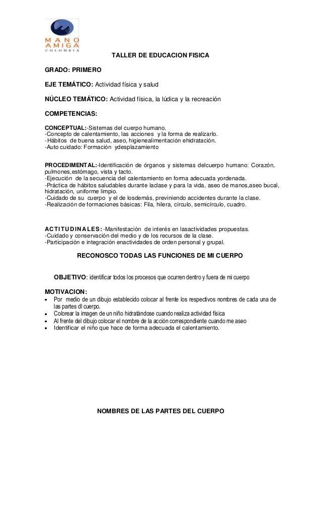 TALLER DE EDUCACION FISICA GRADO: PRIMERO EJE TEMÁTICO: Actividad física y salud NÚCLEO TEMÁTICO: Actividad física, la lúd...