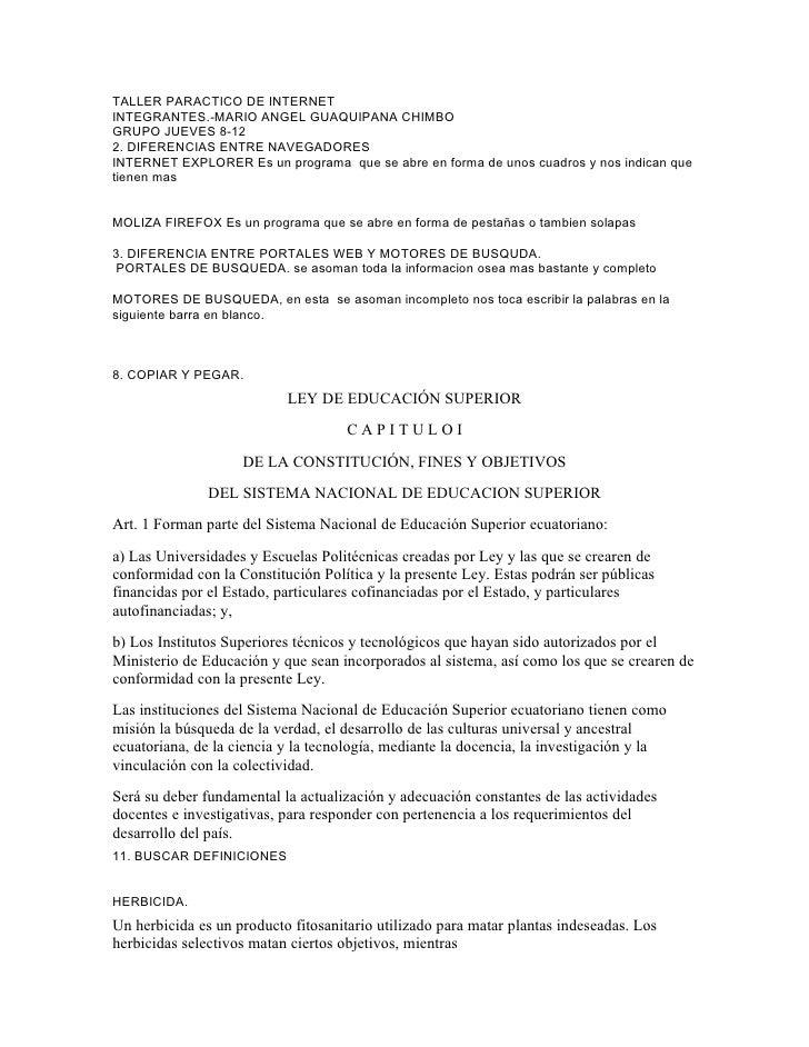 TALLER PARACTICO DE INTERNET INTEGRANTES.-MARIO ANGEL GUAQUIPANA CHIMBO GRUPO JUEVES 8-12 2. DIFERENCIAS ENTRE NAVEGADORES...