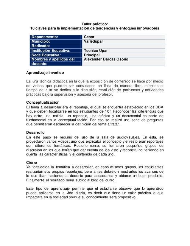 Taller práctico: 10 claves para la implementación de tendencias y enfoques innovadores Departamento: Cesar Municipio: Vall...