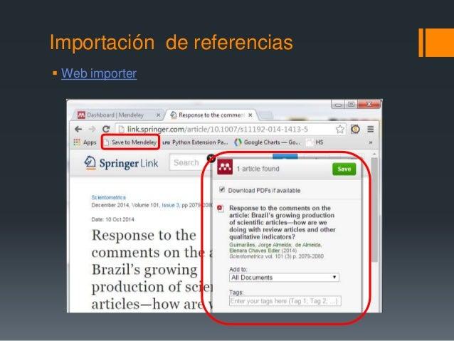 Importación de referencias   Web importer