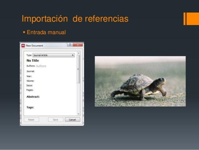 Importación de referencias   Entrada manual