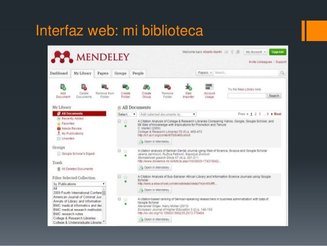 Interfaz web: mi biblioteca