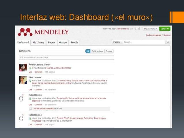 Interfaz web: Dashboard («el muro»)