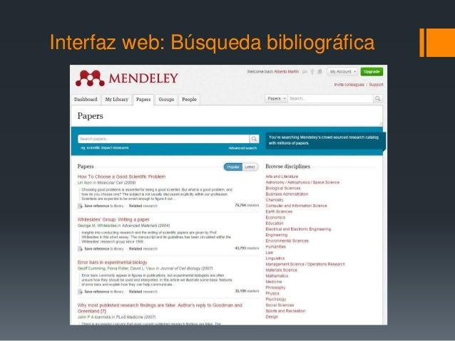 Interfaz web: Búsqueda bibliográfica