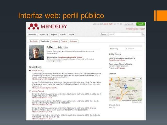 Interfaz web: perfil público