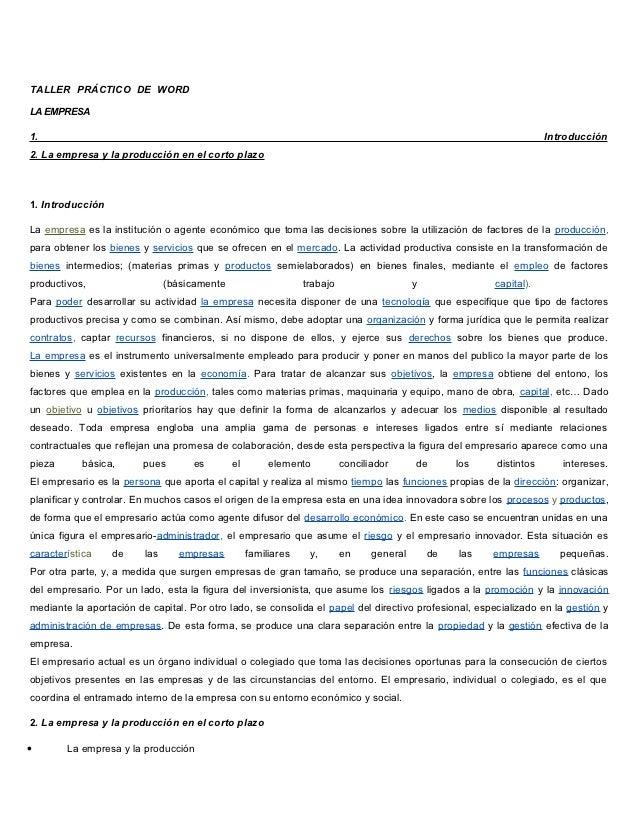 TALLER PRÁCTICO DE WORDLA EMPRESA1.                                                                                       ...