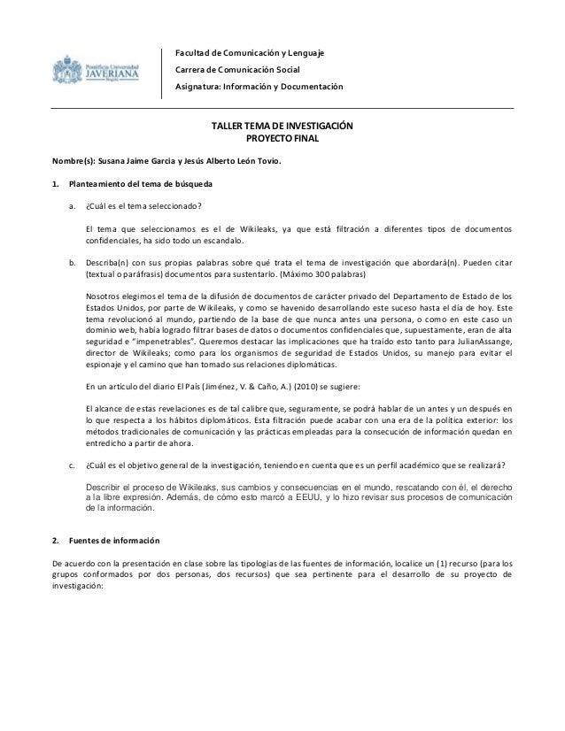 Facultad de Comunicación y Lenguaje Carrera de Comunicación Social Asignatura: Información y Documentación TALLER TEMA DE ...