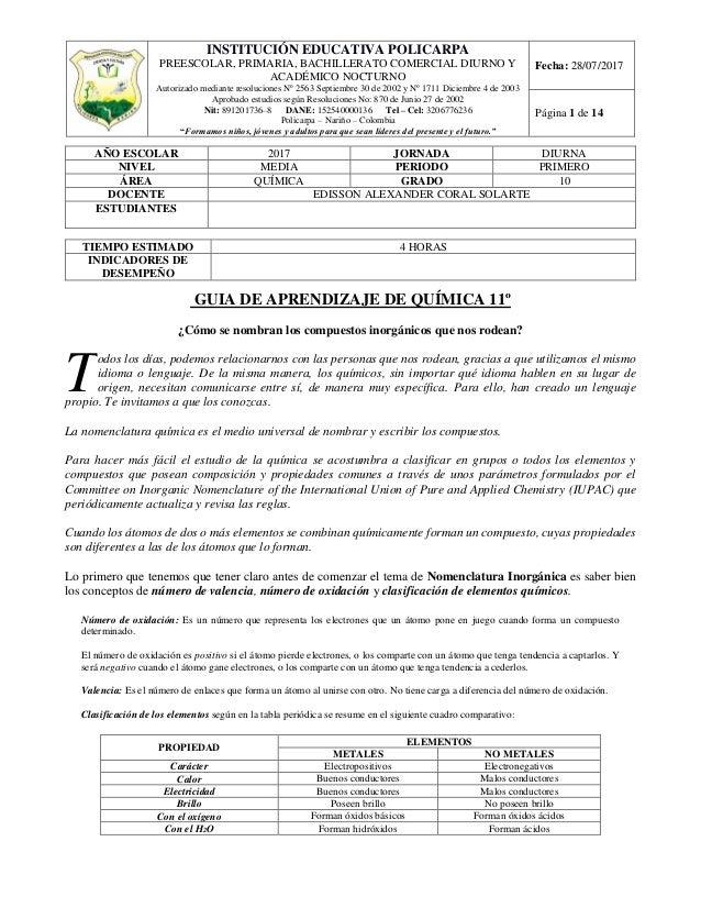 Nomenclatura De Oxidos Acidos Y Bases Quimica Inorganica