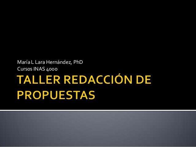María L Lara Hernández, PhDCursos INAS 4000
