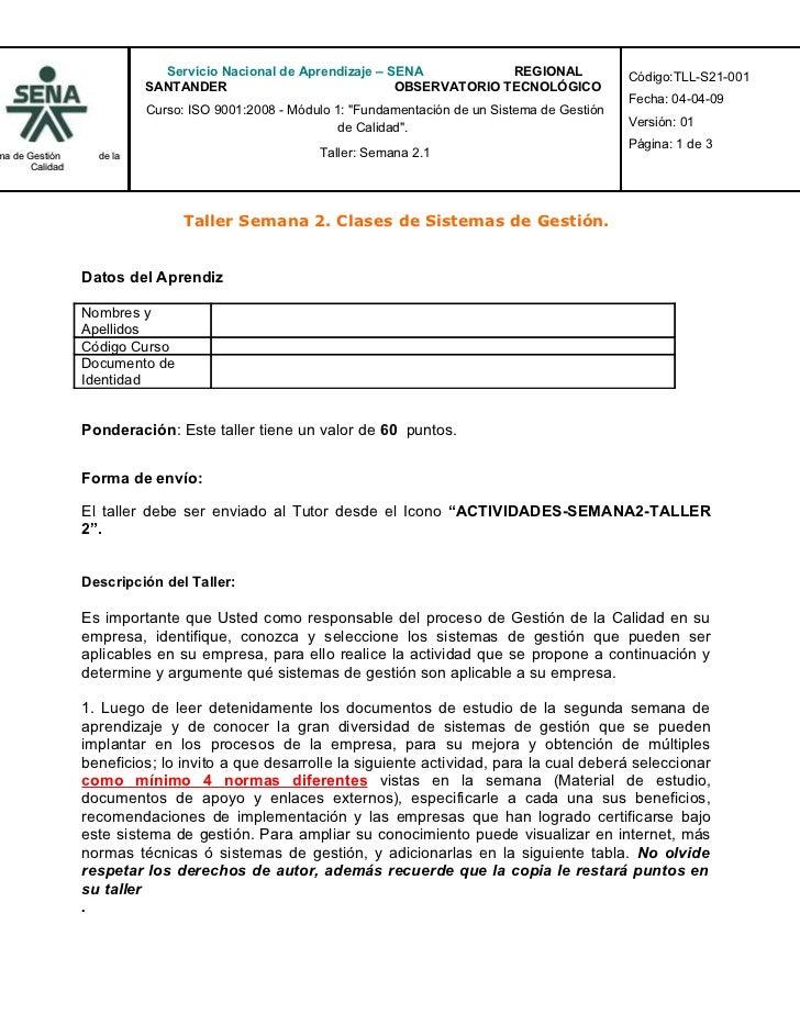 Servicio Nacional de Aprendizaje – SENA           REGIONAL                Código:TLL-S21-001                            SA...