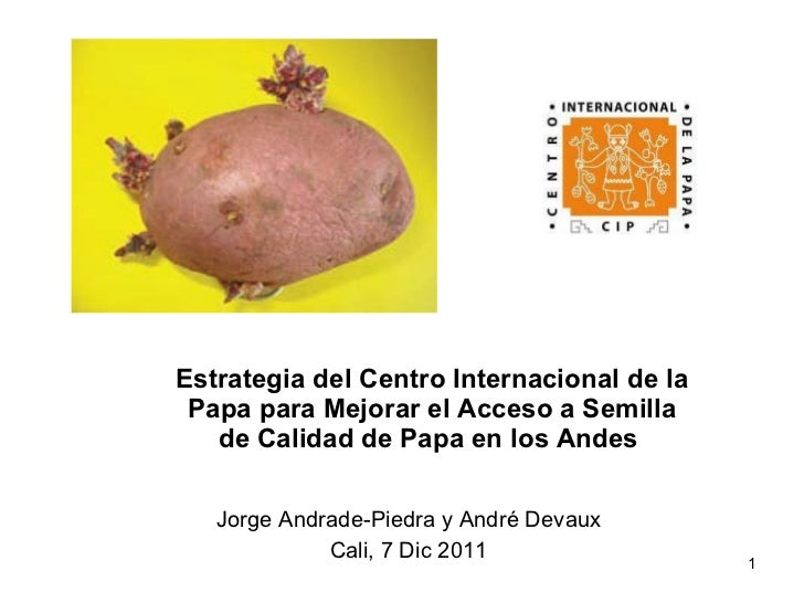 Estrategia del Centro Internacional de la Papa para Mejorar el Acceso a Semilla de Calidad de Papa en los Andes   Jorge An...
