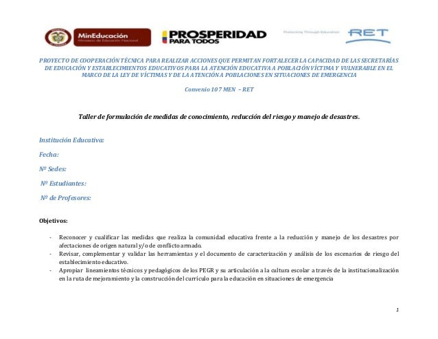 1 PROYECTO DE COOPERACIÓN TÉCNICA PARA REALIZAR ACCIONES QUE PERMITAN FORTALECER LA CAPACIDAD DE LAS SECRETARÍAS DE EDUCAC...