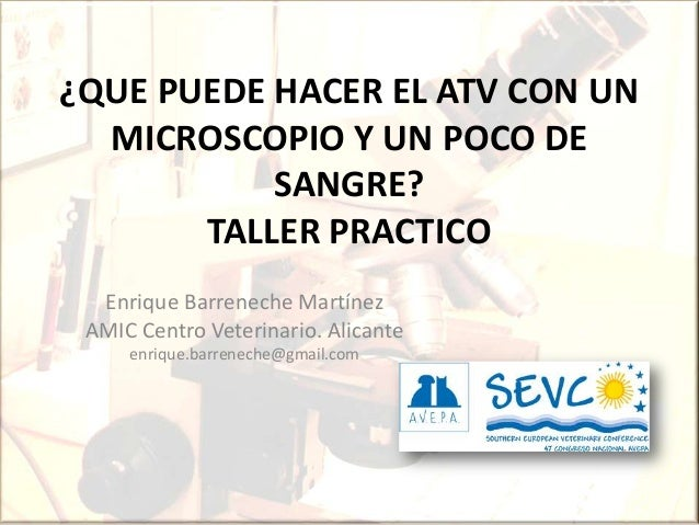 ¿QUE PUEDE HACER EL ATV CON UN MICROSCOPIO Y UN POCO DE SANGRE? TALLER PRACTICO Enrique Barreneche Martínez AMIC Centro Ve...