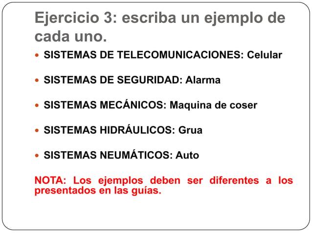 Ejercicio 3: escriba un ejemplo decada uno. SISTEMAS DE TELECOMUNICACIONES: Celular SISTEMAS DE SEGURIDAD: Alarma SISTE...