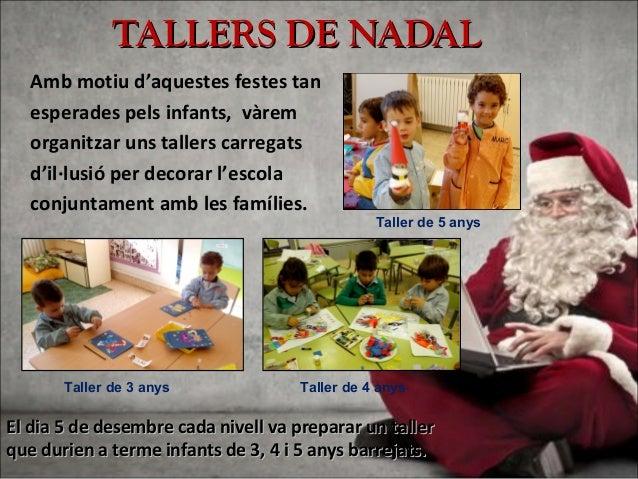 TALLERS DE NADALTALLERS DE NADAL Amb motiu d'aquestes festes tan esperades pels infants, vàrem organitzar uns tallers carr...
