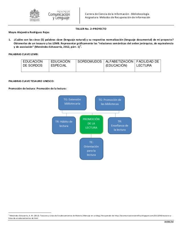 19/03/14 Carrera de Ciencia de la Información - Bibliotecología Asignatura: Métodos de Recuperación de Información TALLER ...