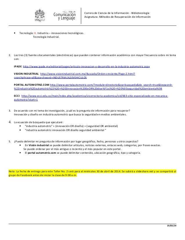 Carrera de Ciencia de la Información - Bibliotecología Asignatura: Métodos de Recuperación de Información • Tecnología: V....