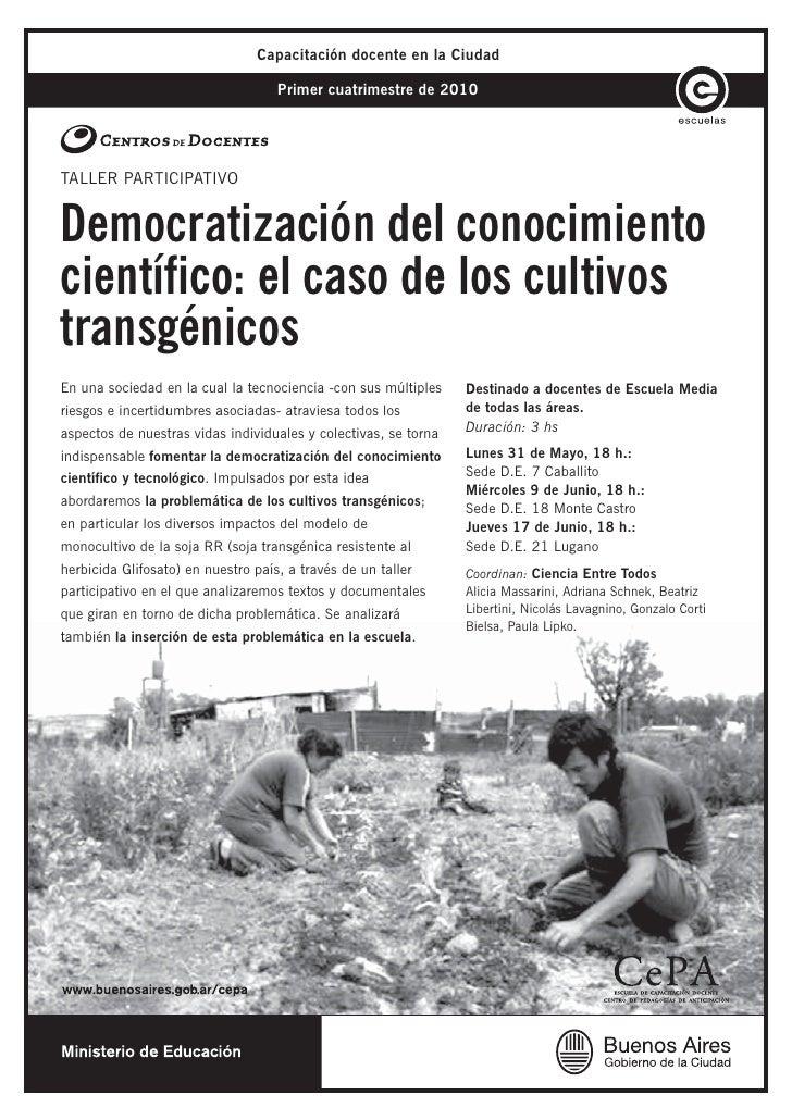 Capacitación docente en la Ciudad                                      Primer cuatrimestre de 2010     TALLER PARTICIPATIV...