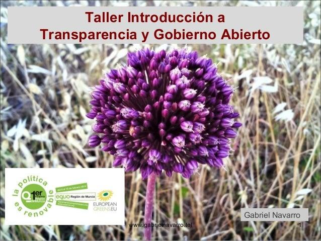 Taller Introducción aTransparencia y Gobierno Abierto                                     Gabriel Navarro            www.g...