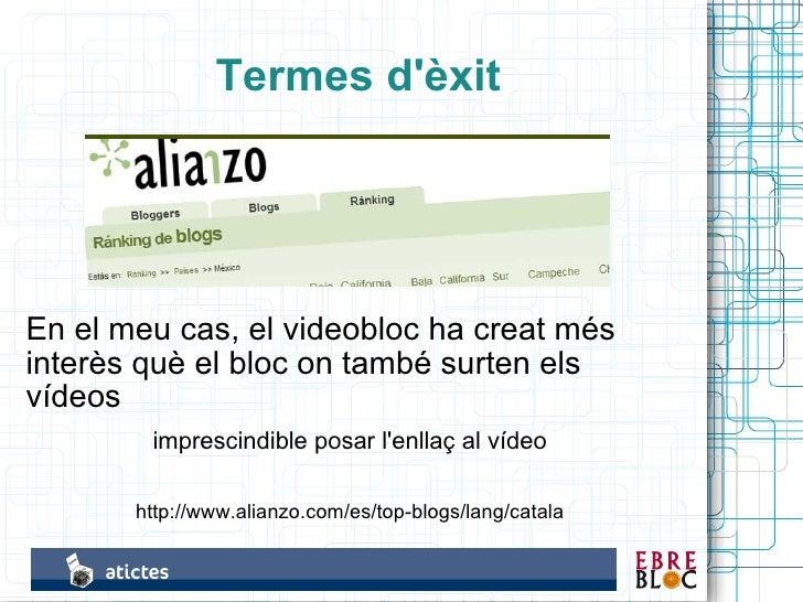 Termes d'èxit     En el meu cas, el videobloc ha creat més interès què el bloc on també surten els vídeos         impresci...