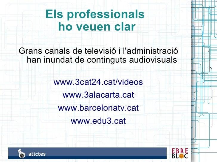 Els professionals          ho veuen clar Grans canals de televisió i l'administració  han inundat de continguts audiovisua...