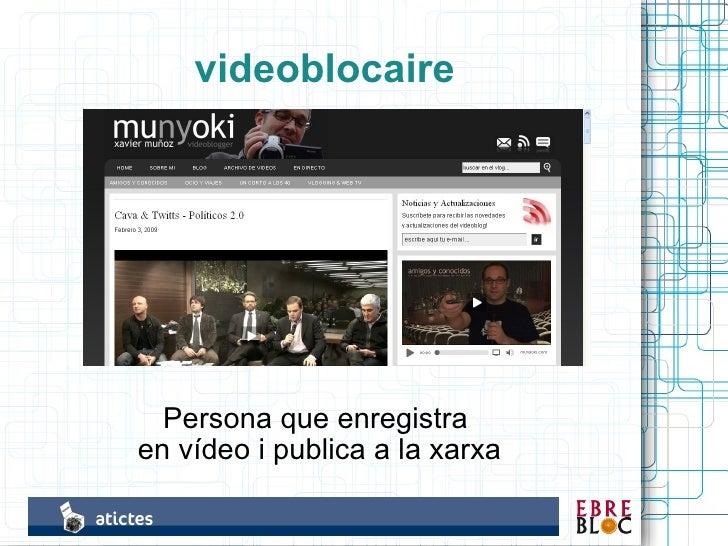 videoblocaire       Persona que enregistra en vídeo i publica a la xarxa