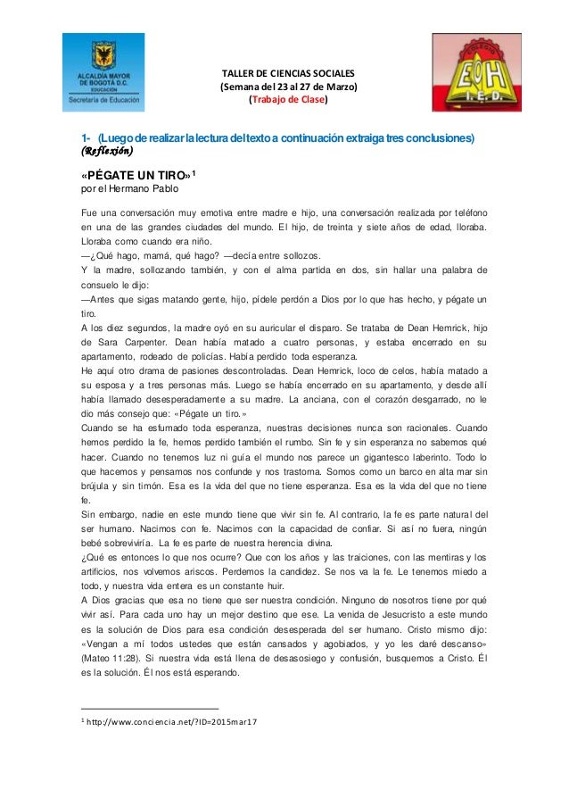 TALLER DE CIENCIAS SOCIALES (Semana del 23 al 27 de Marzo) (Trabajo de Clase) 1- (Luegoderealizarlalecturadeltextoa contin...