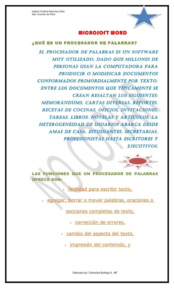 Isabel Cristina Ramírez OrtizSan Vicente de Pául                                                MICROSOFT WORD¿QUÉ ES UN P...
