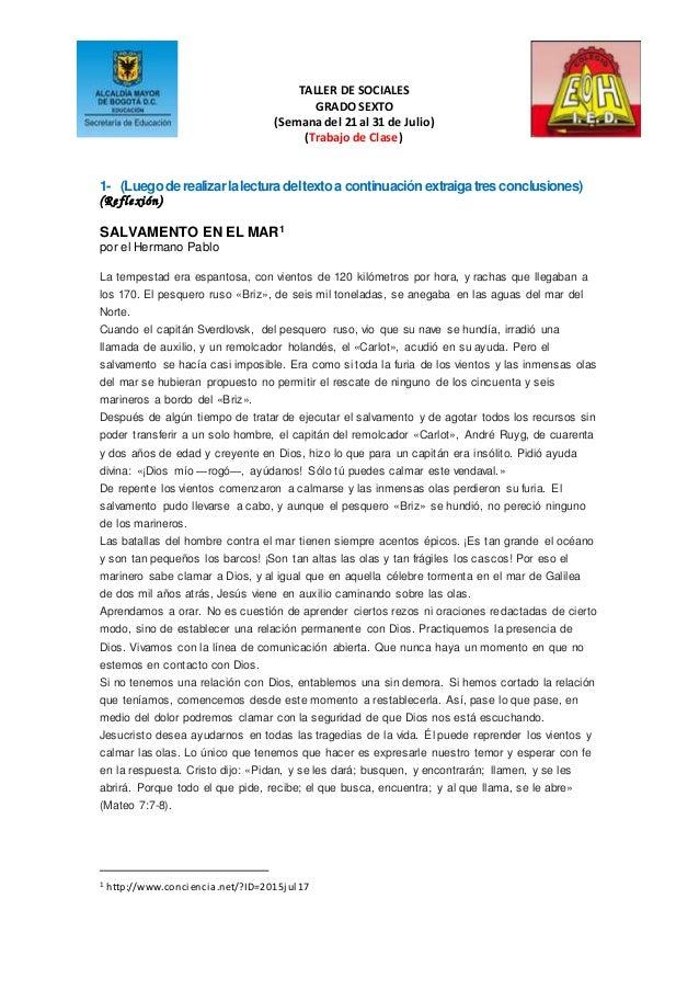 TALLER DE SOCIALES GRADO SEXTO (Semana del 21 al 31 de Julio) (Trabajo de Clase) 1- (Luegoderealizarlalecturadeltextoa con...