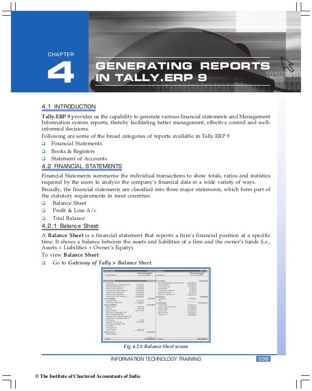 Generating Reports in Tally.ERP 9      CHAPTER     4                      GENERATING REPORTS                            IN...