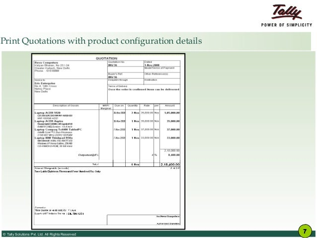 Tally.ERP 9 for it hardware vendors