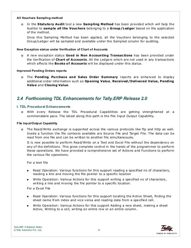 Tally erp 9 release notes