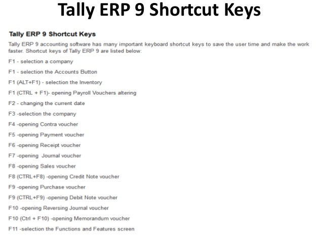 SHORTCUT KEYS OF TALLY ERP 9 PDF DOWNLOAD