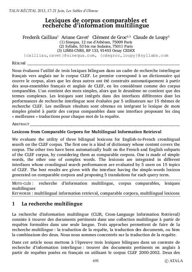 Lexiques de corpus comparables etrecherche d'information multilingueFrederik Cailliau1Ariane Cavet1Clément de Groc2,3Claud...