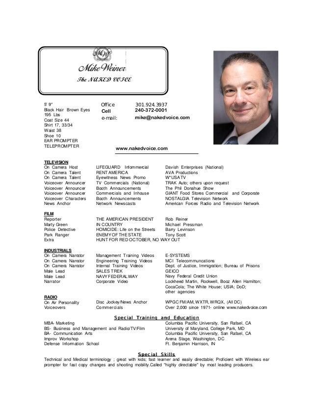 Mike Weiner Voiceover Actor Resume