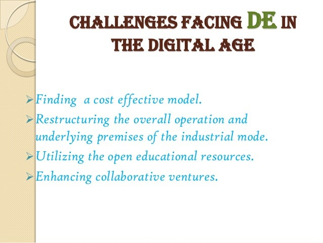 technology challenges facing education The top ten challenges that are created by the growing use of technology in education.