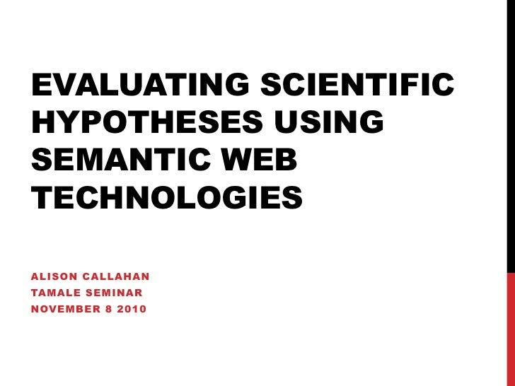 TAMALE Seminar: Evaluating scientific hypotheses using