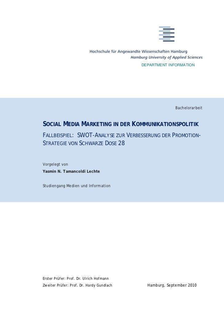 DEPARTMENT INFORMATION                                                          BachelorarbeitSOCIAL MEDIA MARKETING IN DE...