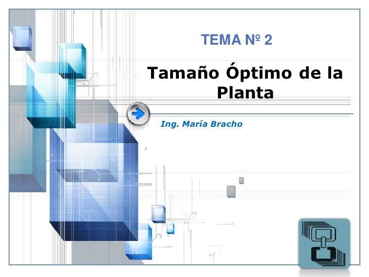 TEMA Nº 2Tamaño Óptimo de la      Planta Ing. María Bracho                     LOGO