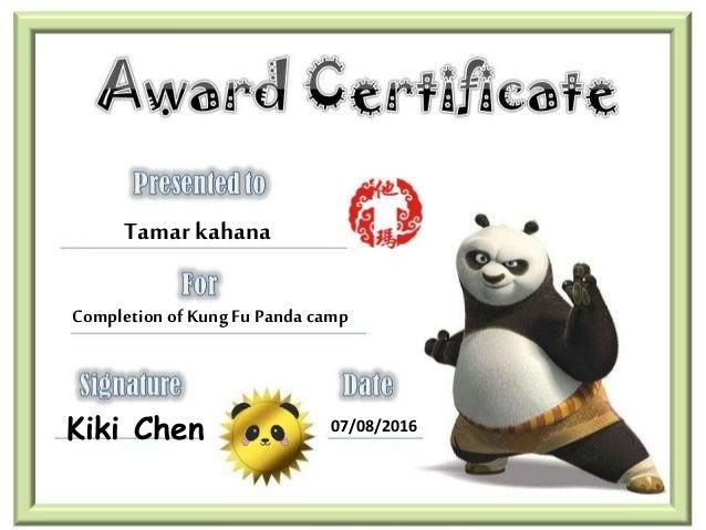 Tamar kahana Completion of KungFu Panda camp Kiki Chen 07/08/2016