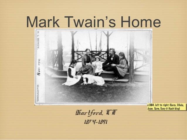 Mark Twain's Home Hartford, CT 1874-1891 c.1884. left to right: Clara, Olivia, Jean, Sam, Susy & Hash (dog) c.1884. left t...