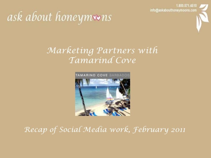 Marketing Partners with <br />Tamarind Cove<br />Recap of Social Media work, February 2011<br />