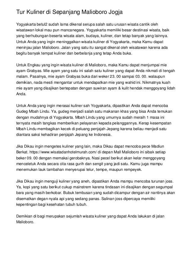 Tur Kuliner di Sepanjang Malioboro Jogja Yogyakarta betul2 sudah lama dikenal serupa salah satu urusan wisata cantik oleh ...