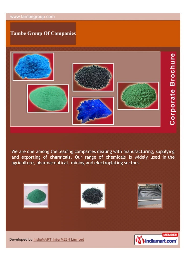 We are one among the leading companies dealing with manufacturing, supplyingand exporting of chemicals. Our range of chemi...