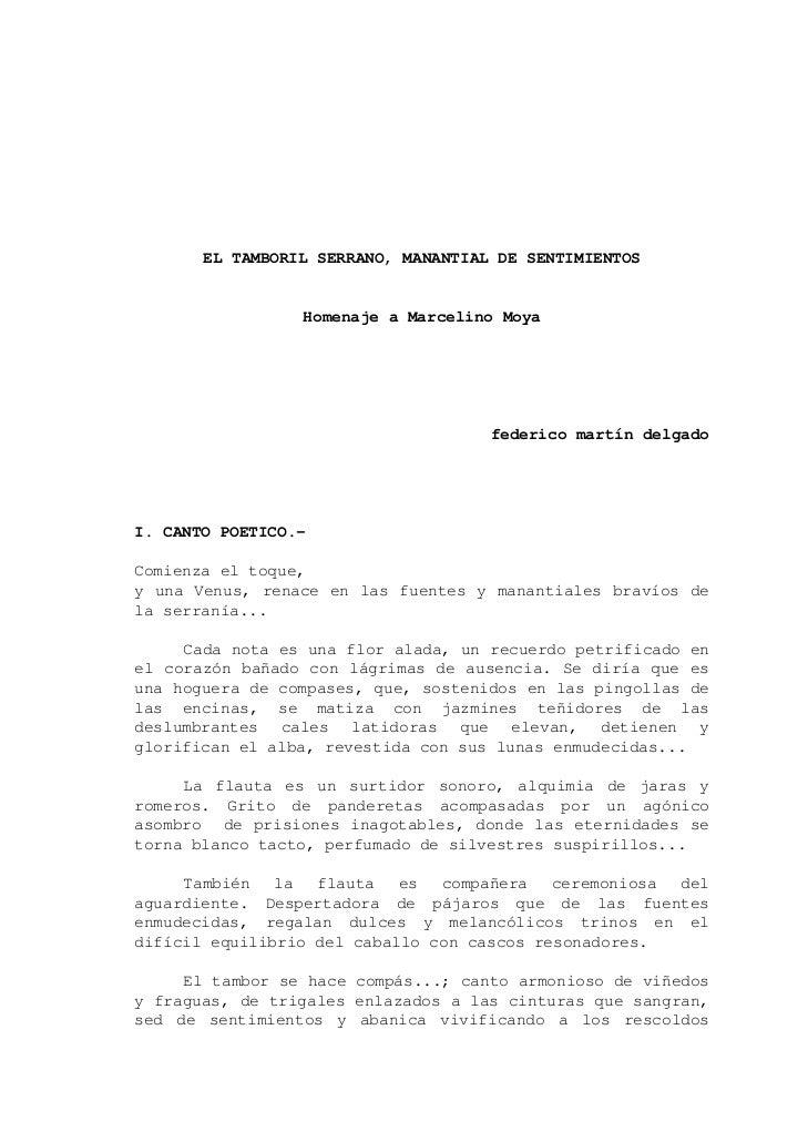 EL TAMBORIL SERRANO, MANANTIAL DE SENTIMIENTOS                 Homenaje a Marcelino Moya                                  ...