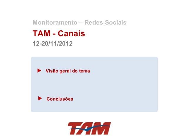 Monitoramento – Redes SociaisTAM - Canais12-20/11/2012    Visão geral do tema    Conclusões